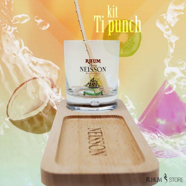 rhumstore.com kit ti punch rhum support pour verre et baguette pour touiller en bois neisson photo devant avec verre pour l'exemple